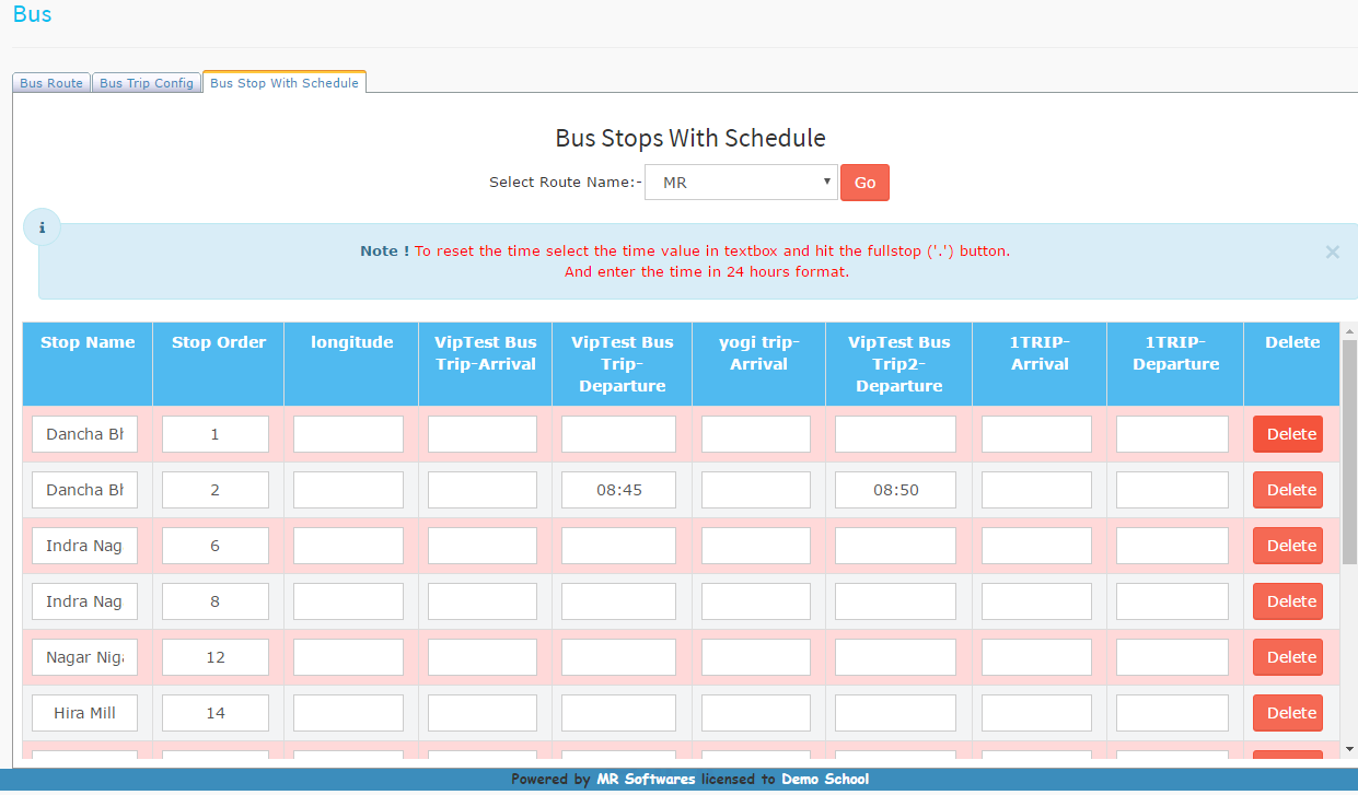 Bus Stops with Schedule